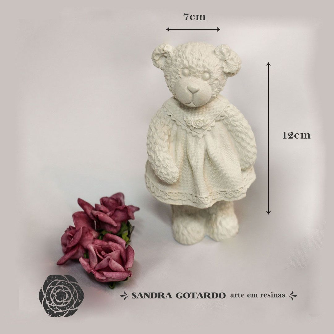 Aplique Resina Ursa Resina 3D com Vestido Rodado- UR022 - Sandra Gotardo