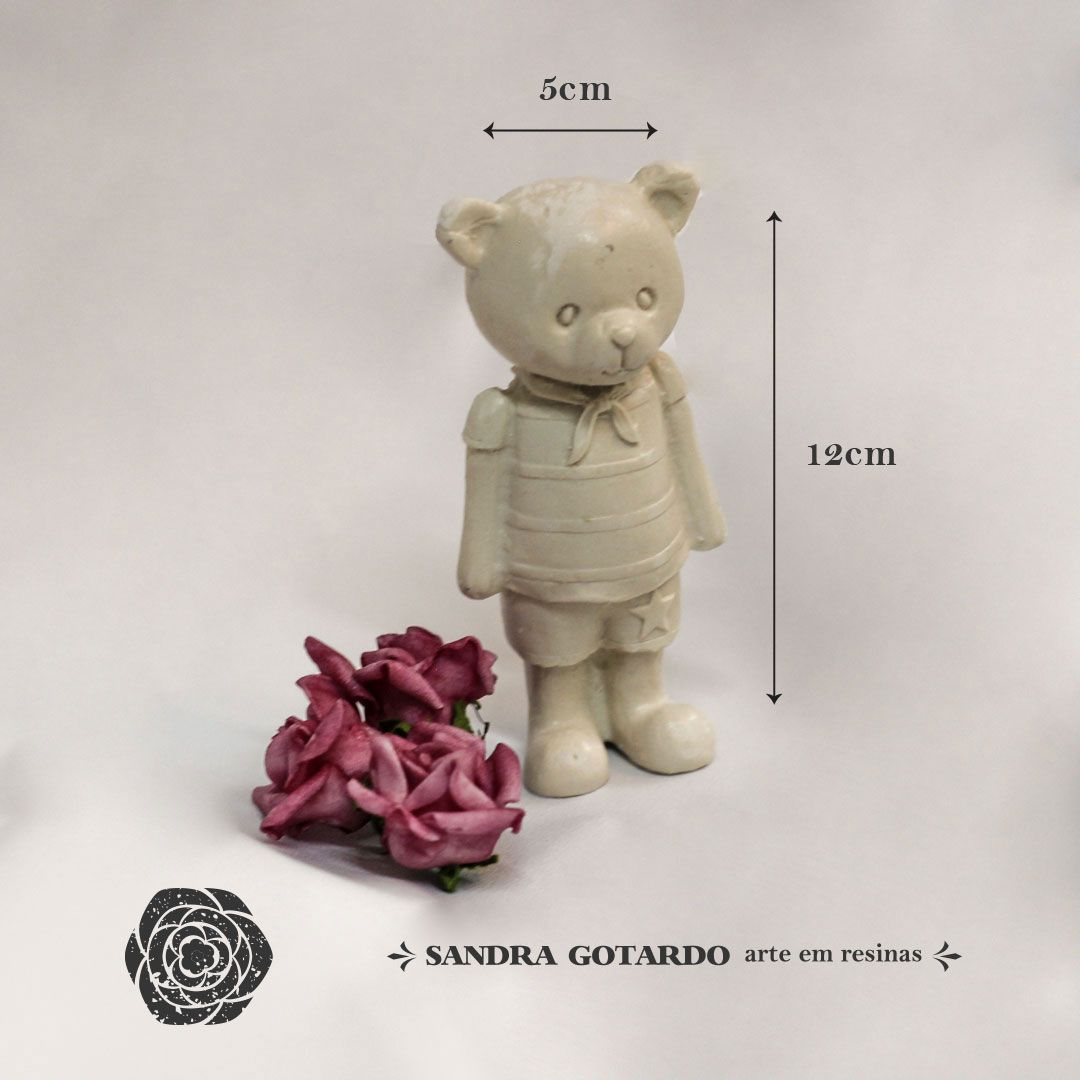 Aplique Resina Urso resina 3d  família Papai 12x5x3 - resina UR 023 - Sandra Gotardo