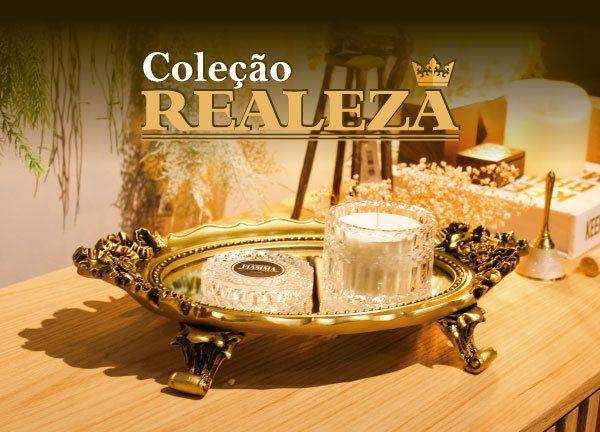 Bandeja Redonda Dourada Resina/espelhada Charlothe05 - Sandra Gotardo
