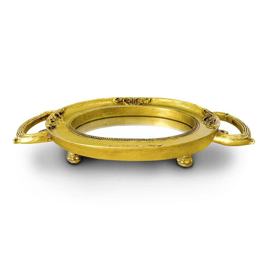 Bandeja redonda dourada Resina/espelhada Charlothe08 - Sandra Gotardo