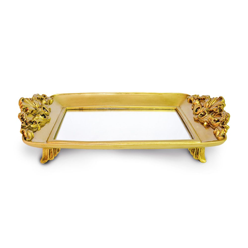 Bandeja Retangular Dourada Resina/espelhada Elizabeth04 - Sandra Gotardo