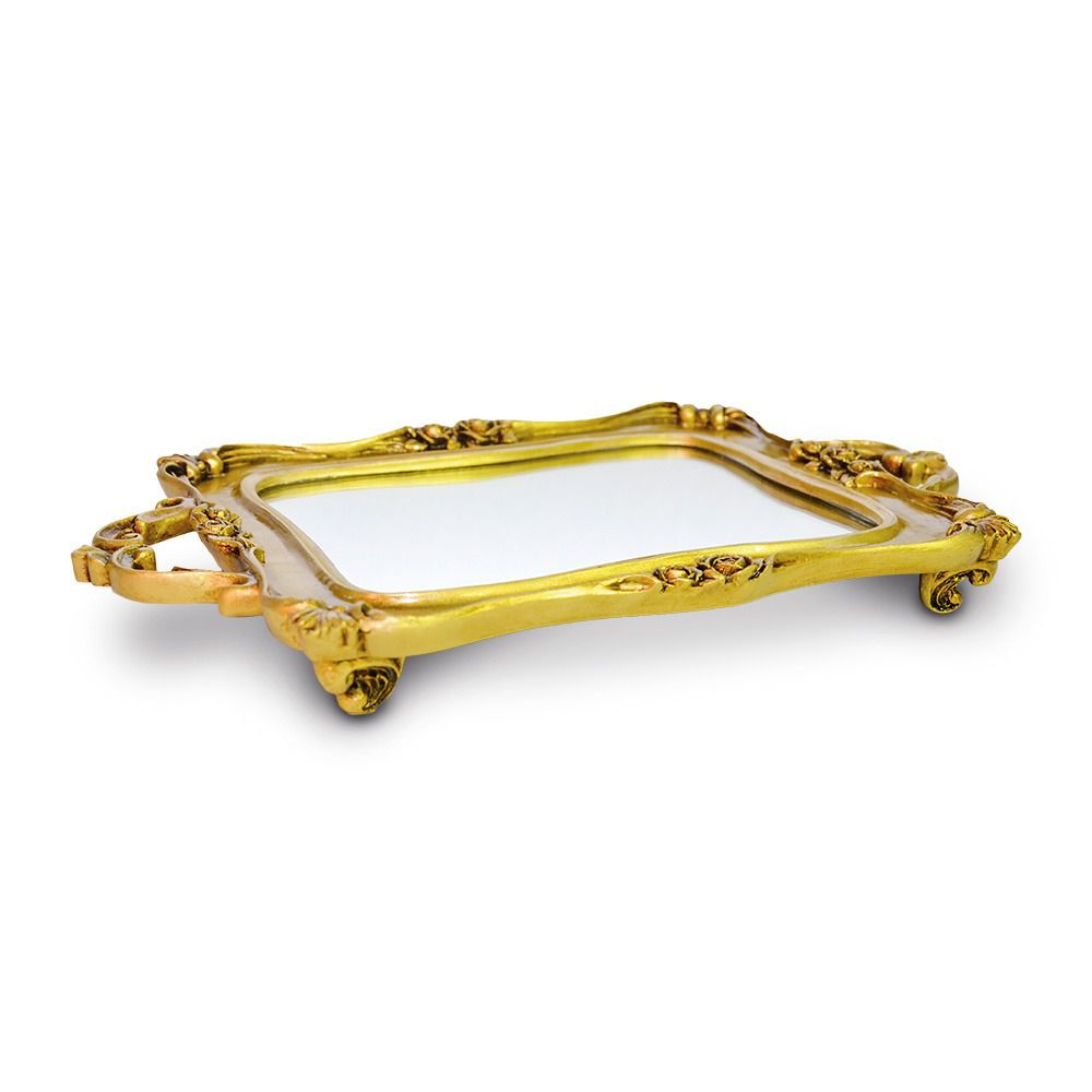 Bandeja Retangular Dourada Resina/espelhada Elizabeth05 - Sandra Gotardo