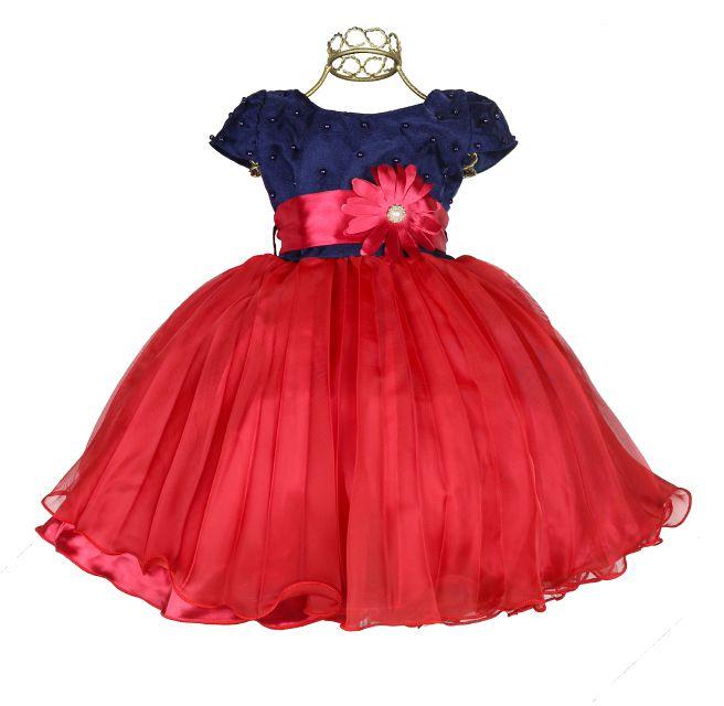 Vestido Festa Infantil Aniversario Perolas Flor Marin M81700