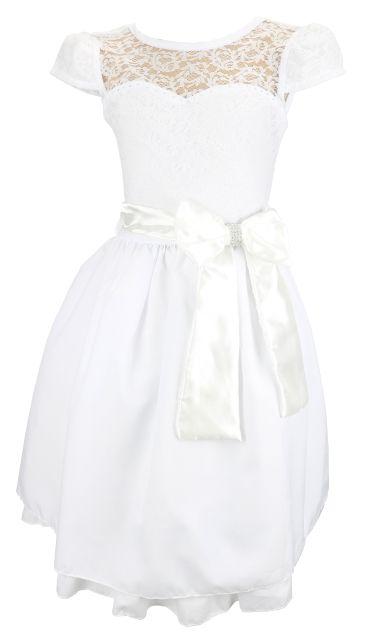 a91b0e9db2 Vestido Festa Infantil Renda Laço Cetim Branco Dama Jm11397 - ENCANTAKID  COMERCIO