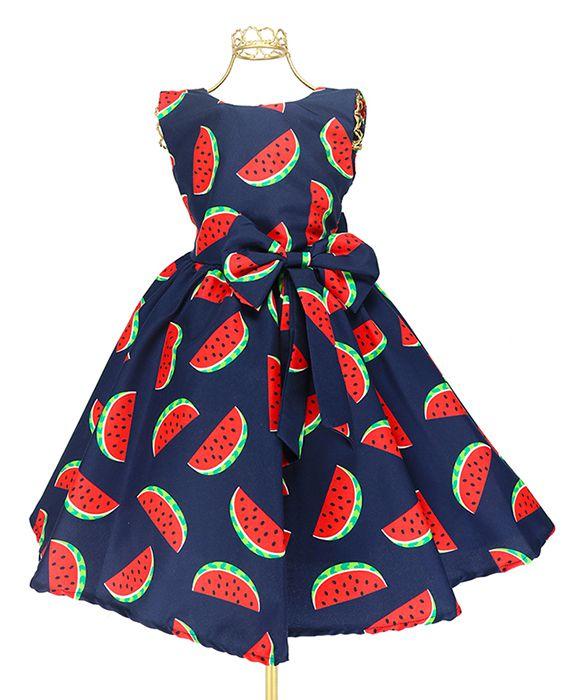 de082954e22d Vestido Infantil Marinho Estampa Melancia Magali Luxo Bn744 ...