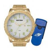 Relógio Mormaii Analógico Dourado com chave