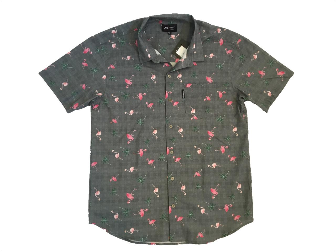 Camisa Freesurf Flamingo Cinza