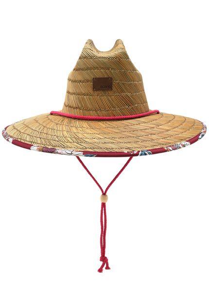 Chapéu de Palha Roxy Tomboy Printed Bege/ Vermelho