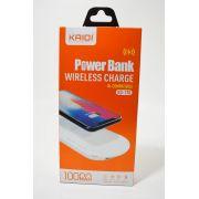 Carregador Portátil Power Bank com Carregamento sem Fio Kaidi KD-170 10.000mah Original Branco