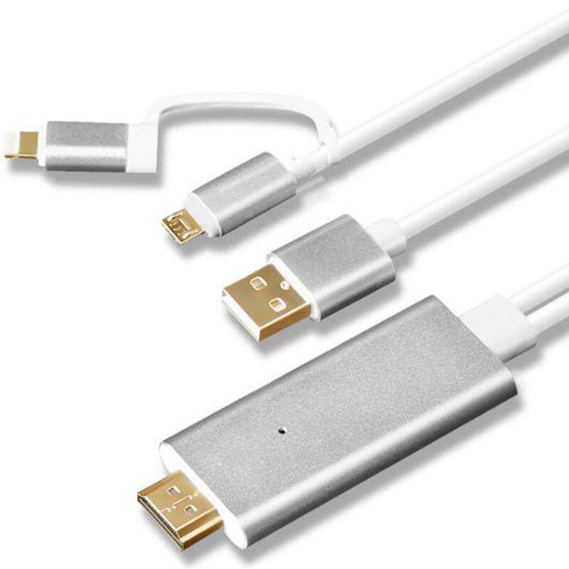 Cabo Hdmi Para Celular Cabo Hdtv Iphone Ipad Para Tv Micro Usb e Tipo-C