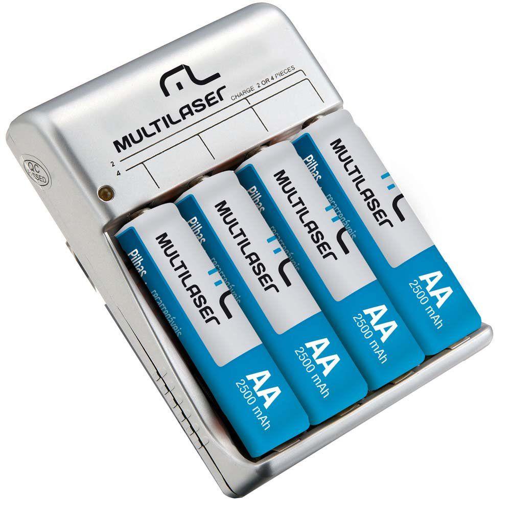 carregador de pilha multilaser c/4 pilhas AA CB054