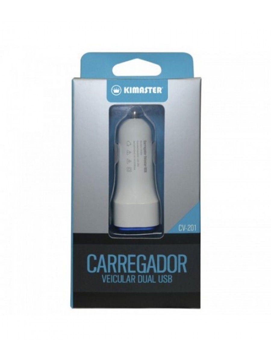 CARREGADOR VEICULAR KIMASTER DUAL USB