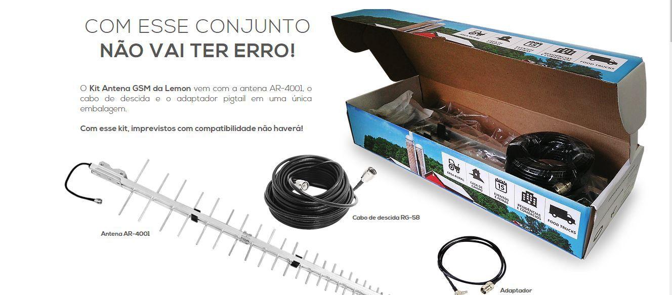 Kit Antena Celular GSM De Alto Ganho Lemon Mobile AR-4001