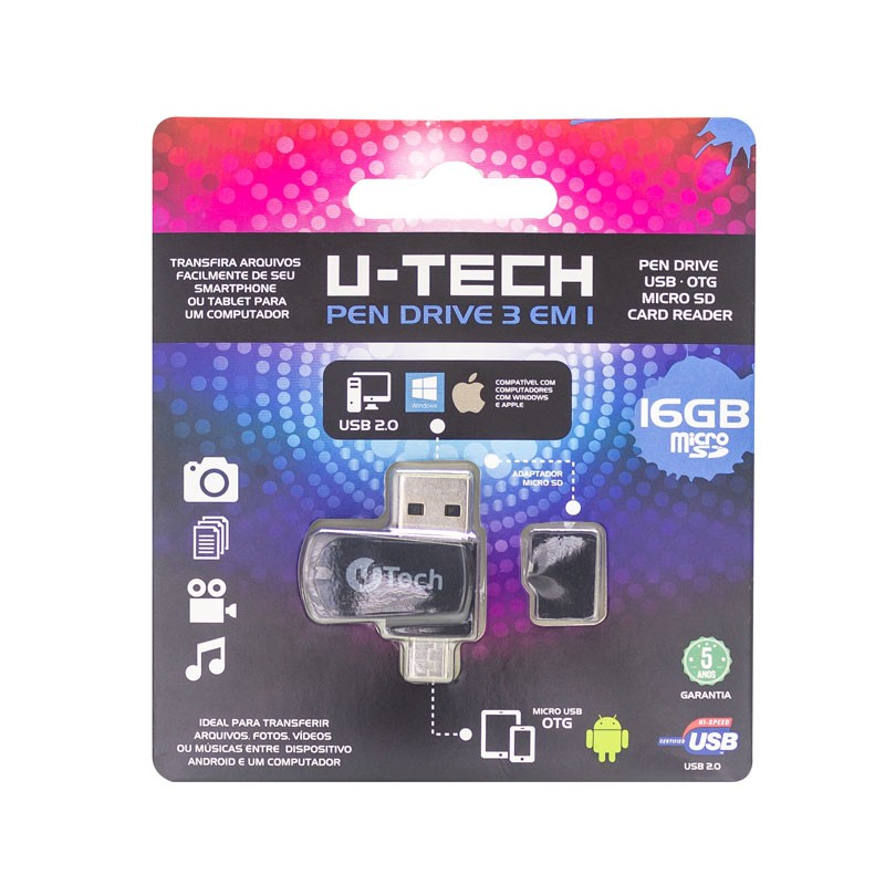 MEMORIA U-TECH 16GB COM ADAPTADOR OTG