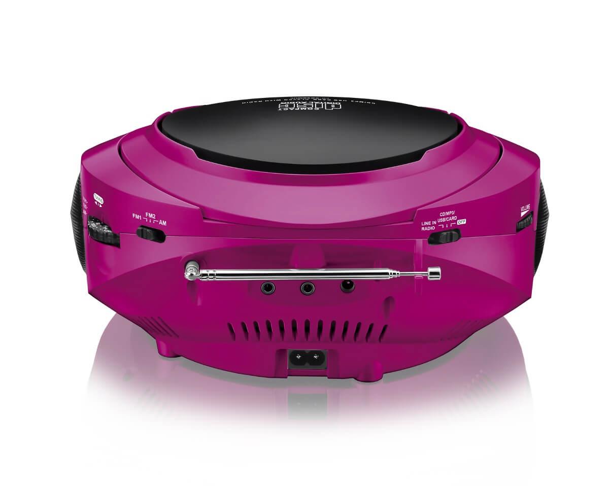 Caixa De Som Multilaser Boombox 20W Rms Cd/Usb/Sd/Fm/Aux. Rosa E Preto- SP179