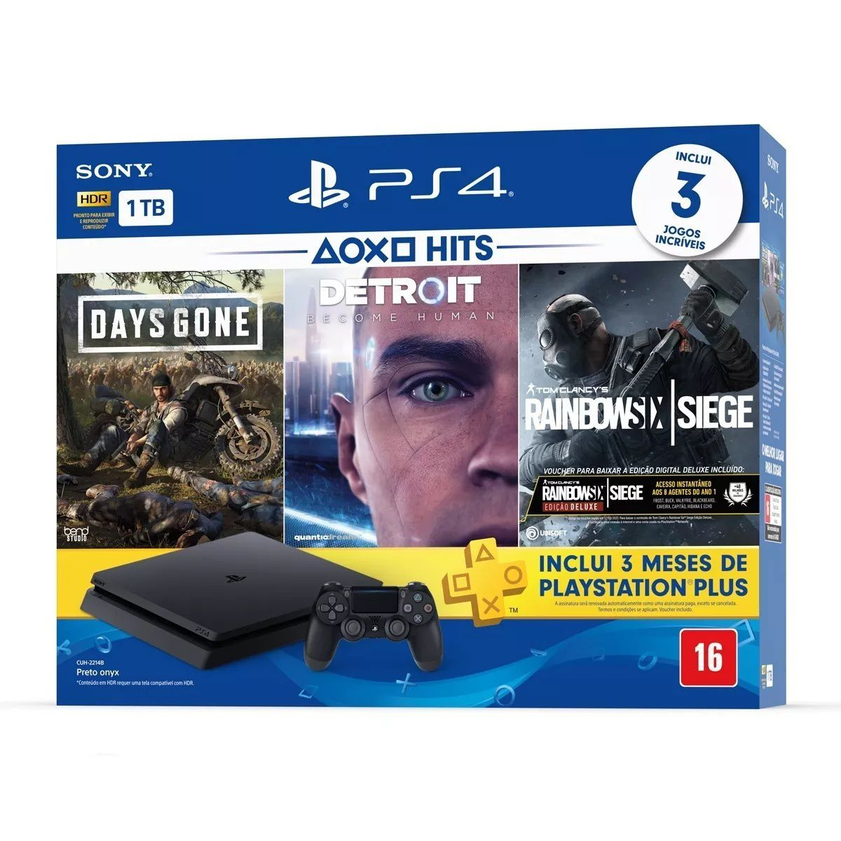 Playstation 4 Slim - 1 Tb + 3 Jogos (Days Gone + Detroit Become Human + Rainbow Six Siege)