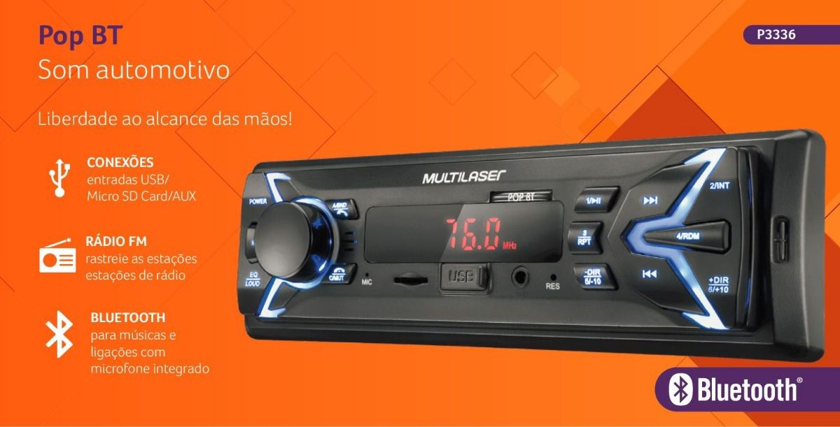 Som Automotivo Radio Pop BT Mp3 Player Multilaser P3336