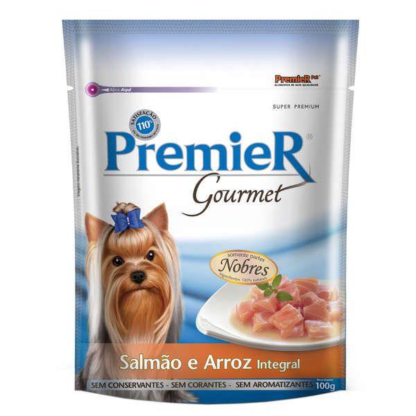 Alimento Úmido Sachê Premier Gourmet Cães Adultos Salmão e Arroz 100g