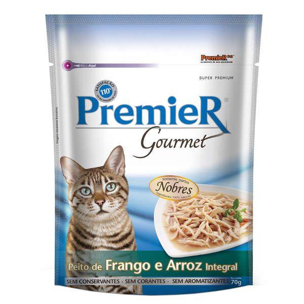 Alimento Úmido Sachê Premier Gourmet Gatos Adultos Frango e Arroz 70g