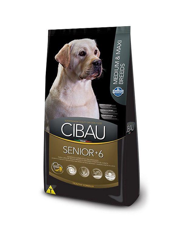 Ração Cibau Sênior +6 Cães Adultos Raças Médias e Grandes 12Kg