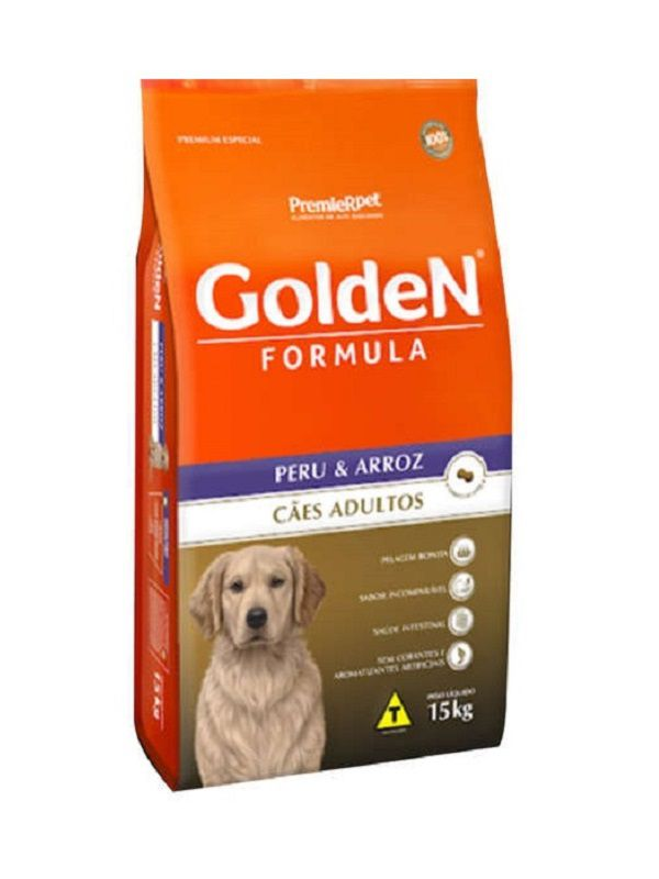 Ração Golden Cães Adultos Peru e Arroz 15Kg