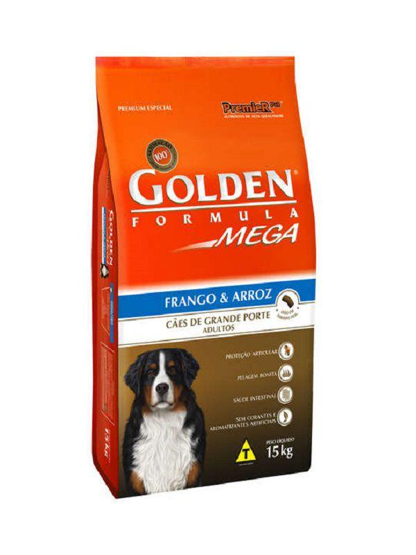 Ração Golden Mega Cães Adultos Frango e Arroz 15Kg