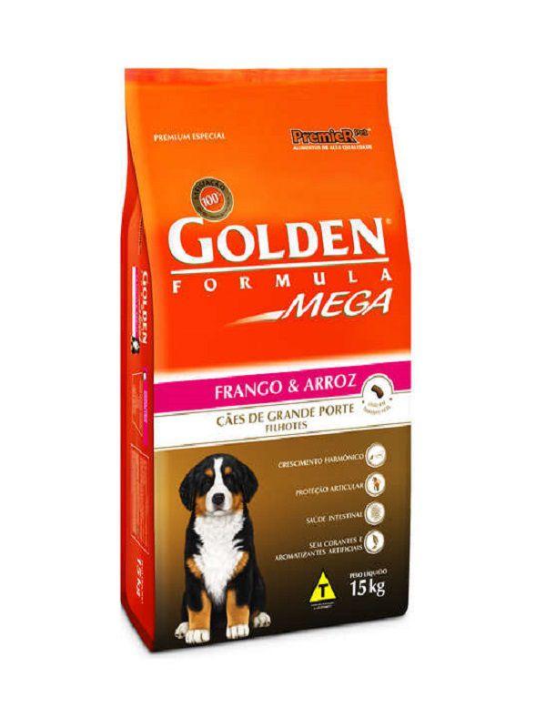 Ração Golden Mega Cães Filhotes Frango e Arroz 15Kg