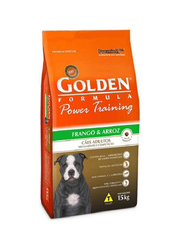 Ração Golden Power Training Cães Adultos Frango e Arroz 15Kg