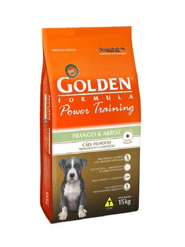 Ração Golden Power Training Cães Filhotes Frango e Arroz 15Kg