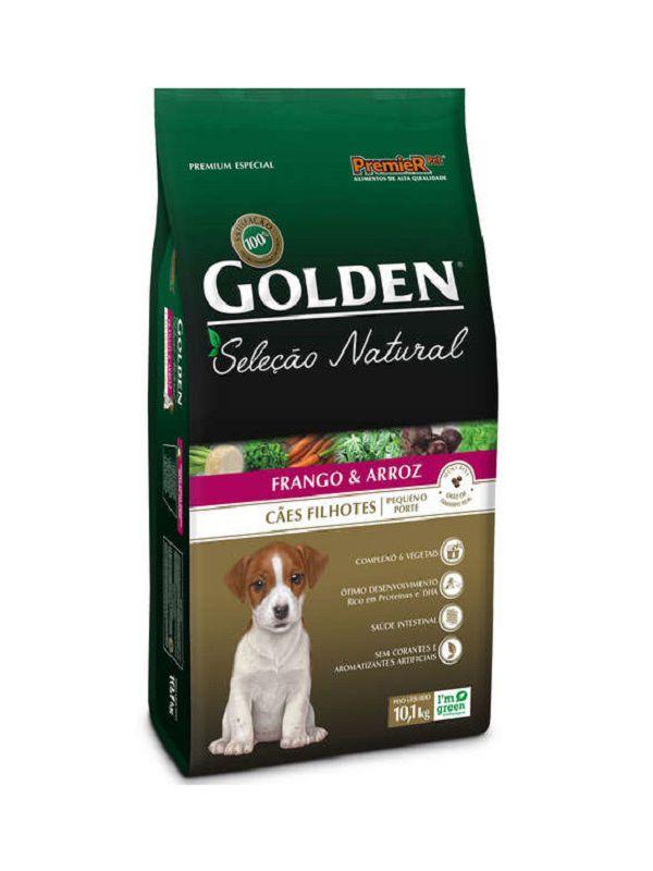 Ração Golden Seleção Natural Cães Filhotes Raças Pequenas Mini Bitz Frango e Arroz 10kg