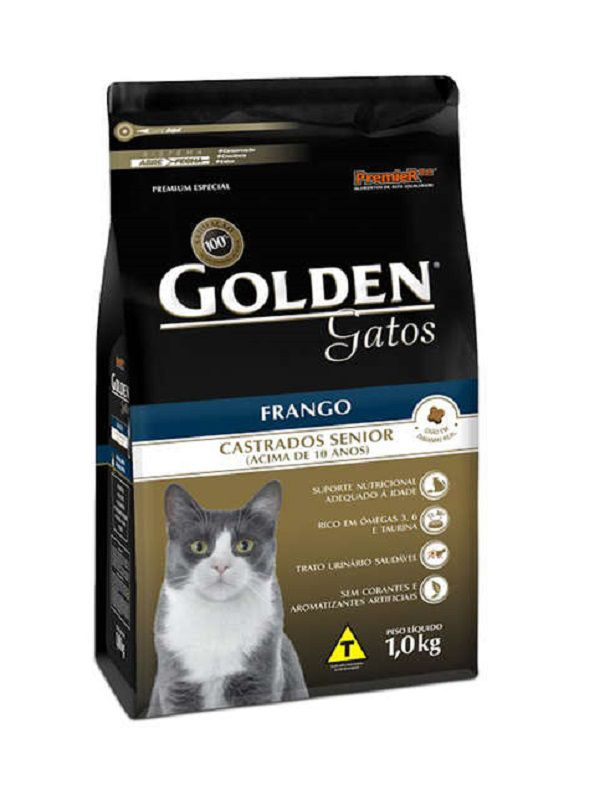 Ração Golden Sênior Gatos Adultos Castrados Frango