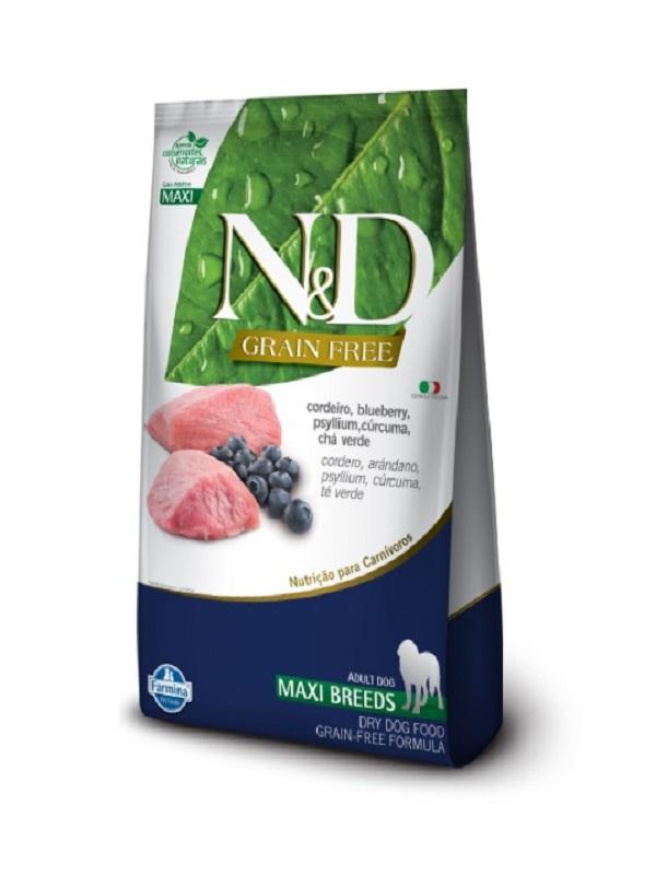 Ração N&D Grain Free Cães Adultos Raças Grandes Cordeiro e Blueberry 10,1kg