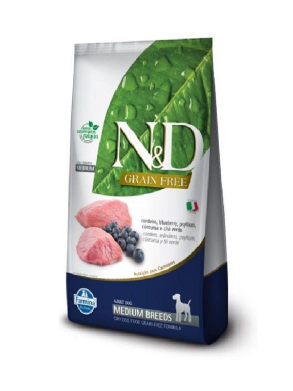 Ração N&D Grain Free Cães Adultos Raças Médias Cordeiro e Blueberry 10,1kg