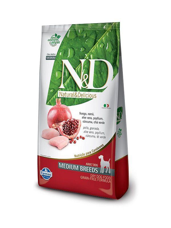 Ração N&D Grain Free Cães Adultos Raças Médias Frango e Romã 10,1kg