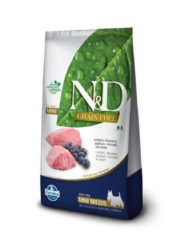 Ração N&D Grain Free Cães Adultos Raças Pequenas Cordeiro e Blueberry 10,1kg