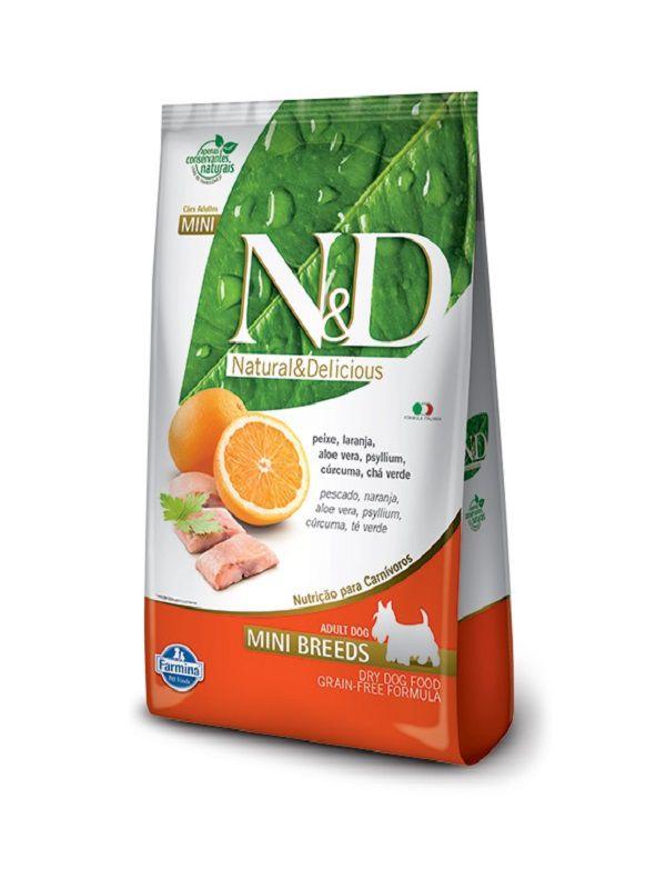 Ração N&D Grain Free Cães Adultos Raças Pequenas Peixe e Laranja