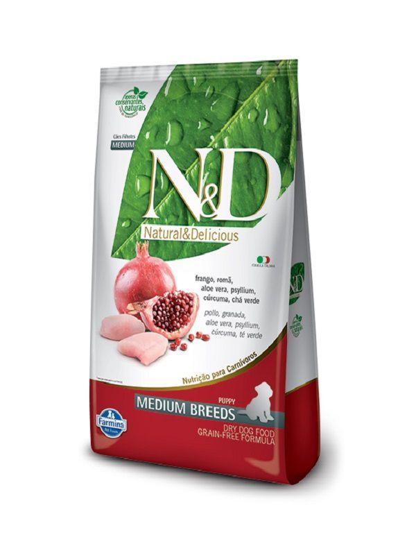 Ração N&D Grain Free Cães Filhotes Raças Médias Frango e Romã 10,1kg