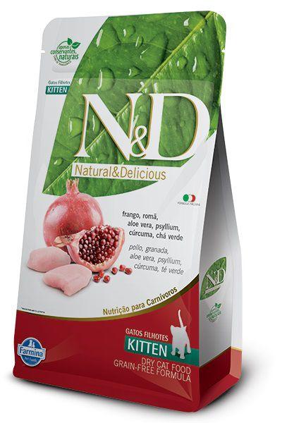 Ração N&D Grain Free Gatos Filhotes Frango e Romã
