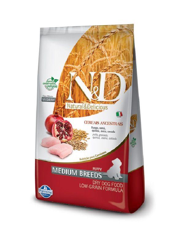 Ração N&D Low Grain Cães Filhotes Raças Médias Frango e Romã 10,1kg