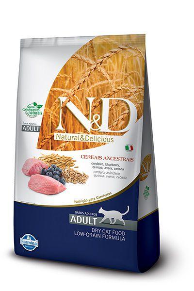 Ração N&D Low Grain Gatos Adultos Cordeiro e Blueberry