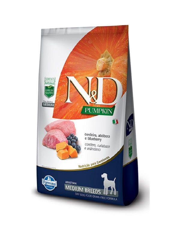 Ração N&D Pumpkin Grain Free Cães Adultos Raças Médias Cordeiro, Abóbora e Blueberry 10,1kg