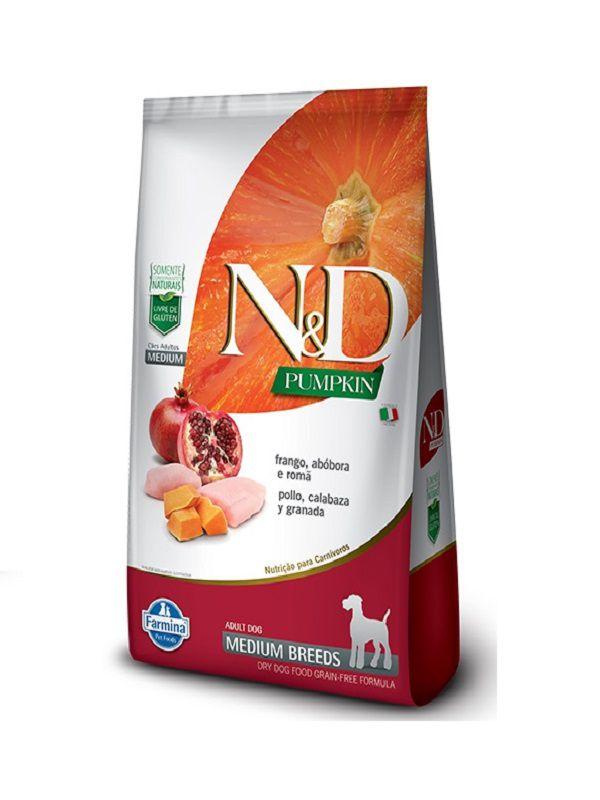 Ração N&D Pumpkin Grain Free Cães Adultos Raças Médias Frango, Abóbora e Romã 10,1kg