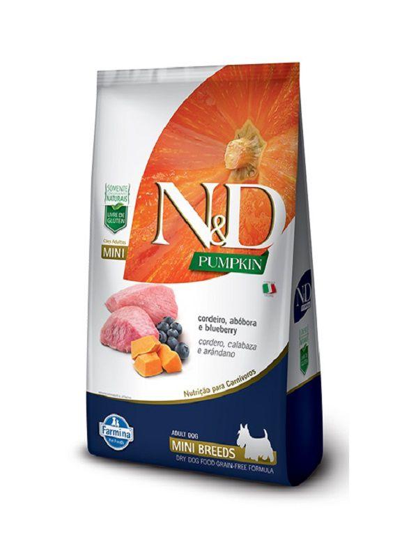 Ração N&D Pumpkin Grain Free Cães Adultos Raças Pequenas Cordeiro, Abóbora e Blueberry