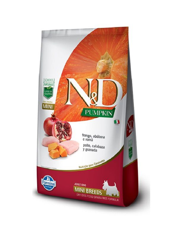 Ração N&D Pumpkin Grain Free Cães Adultos Raças Pequenas Frango, Abóbora e Romã
