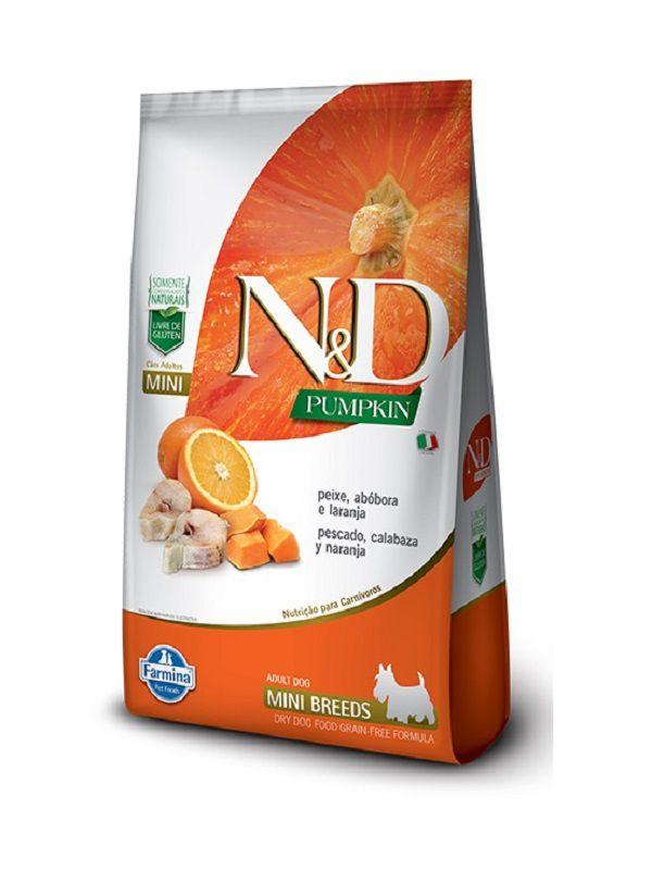 Ração N&D Pumpkin Grain Free Cães Adultos Raças Pequenas Peixe, Abóbora e Laranja