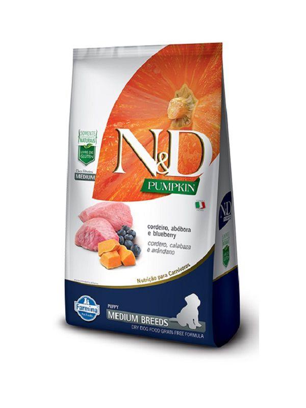 Ração N&D Pumpkin Grain Free Cães Filhotes Raças Médias Cordeiro, Abobóra e Blueberry 2,5Kg