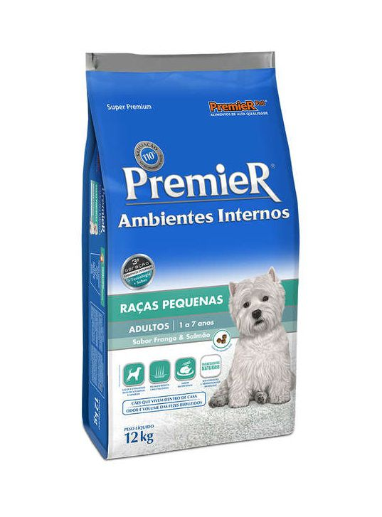 Ração Premier Ambientes Internos Cães Adultos Frango e Salmão