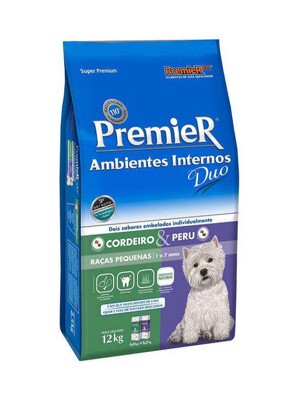 Ração Premier Ambientes Internos Duo Cães Adultos Raças Pequenas Cordeiro e Peru