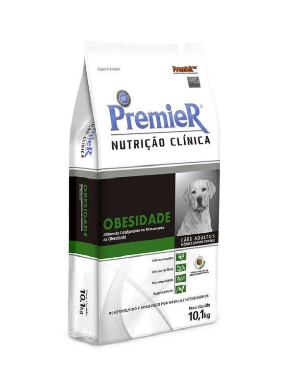 Ração Premier Nutrição Clínica Obesidade Cães Adultos Raças Médias e Grandes 10,1Kg