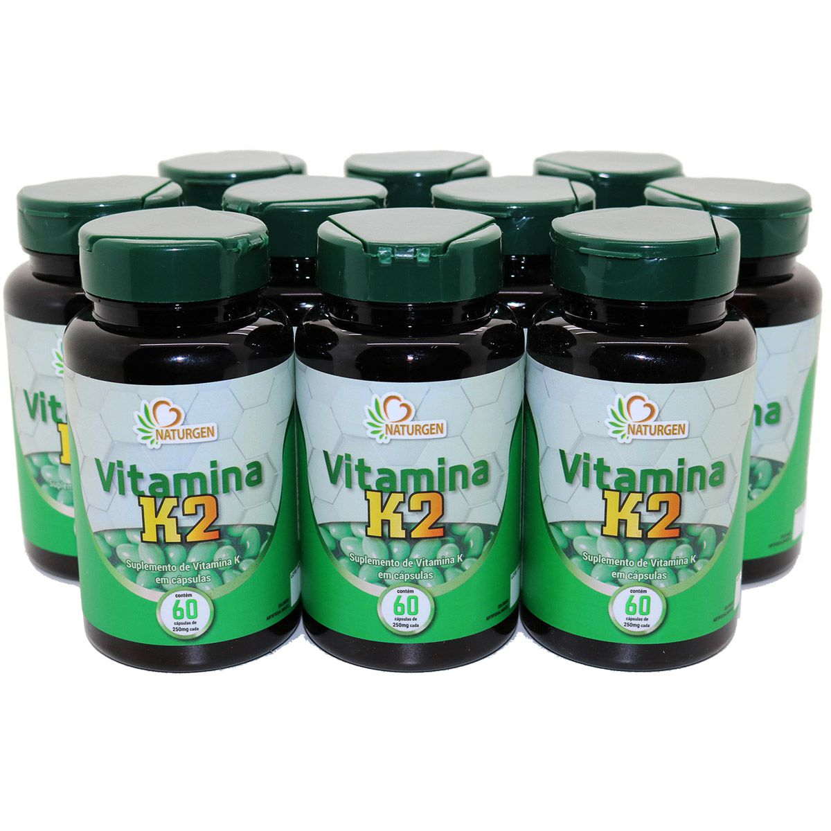 10x Vitamina K2 Menaquinona 250 MG 60 caps Kit Familia